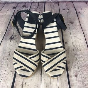 Tory Burch  Striped Canvas Wedge Sole Sandals Sz 9